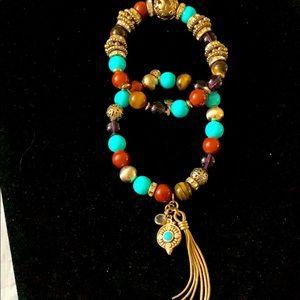 R J Graziano Multi-Colored 2 set Stretch Bracelets